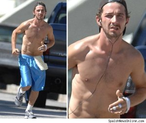 Shia LaBeouf Shirtless Running